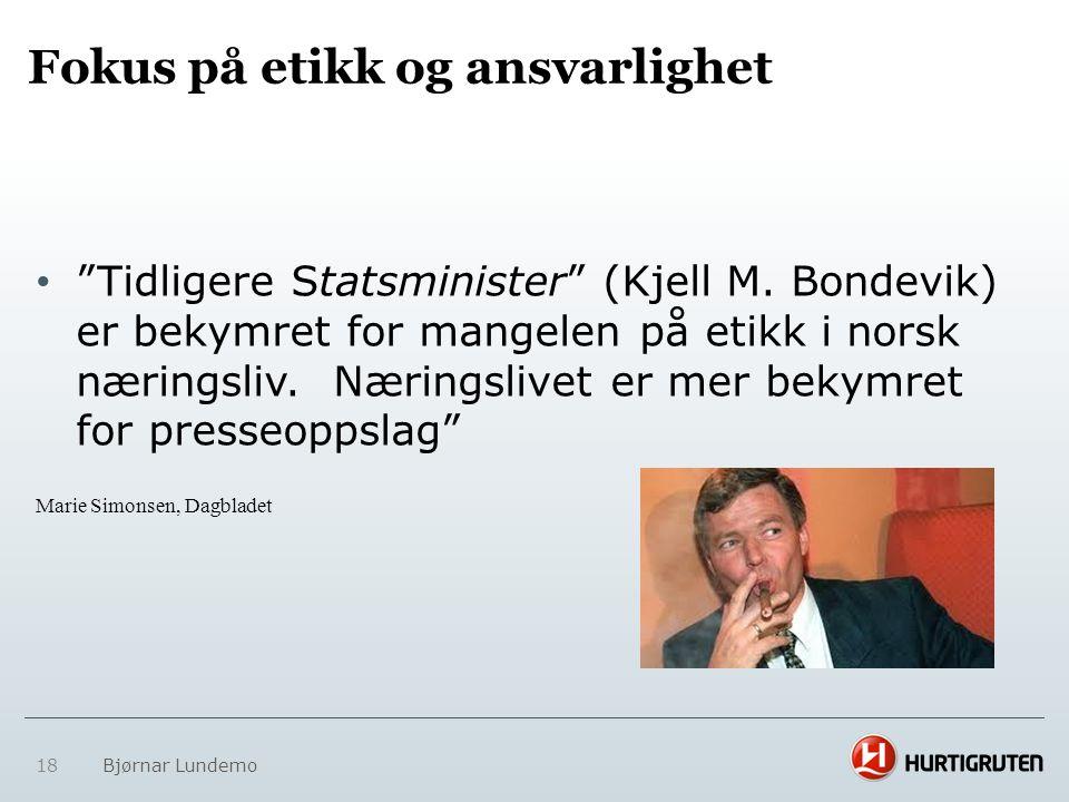 """Fokus på etikk og ansvarlighet • """"Tidligere Statsminister"""" (Kjell M. Bondevik) er bekymret for mangelen på etikk i norsk næringsliv. Næringslivet er m"""