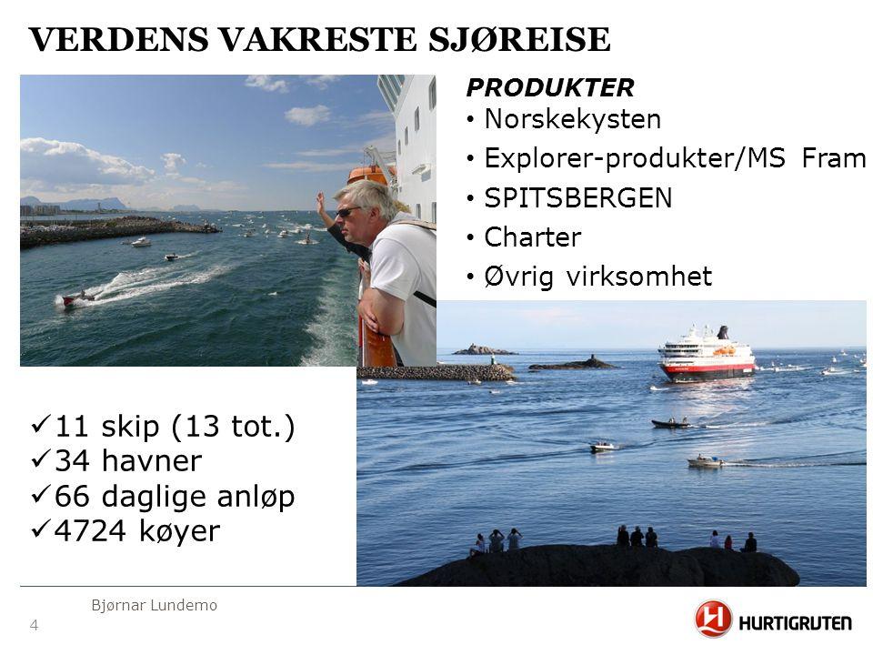 4 Bjørnar Lundemo VERDENS VAKRESTE SJØREISE  11 skip (13 tot.)  34 havner  66 daglige anløp  4724 køyer PRODUKTER • Norskekysten • Explorer-produk