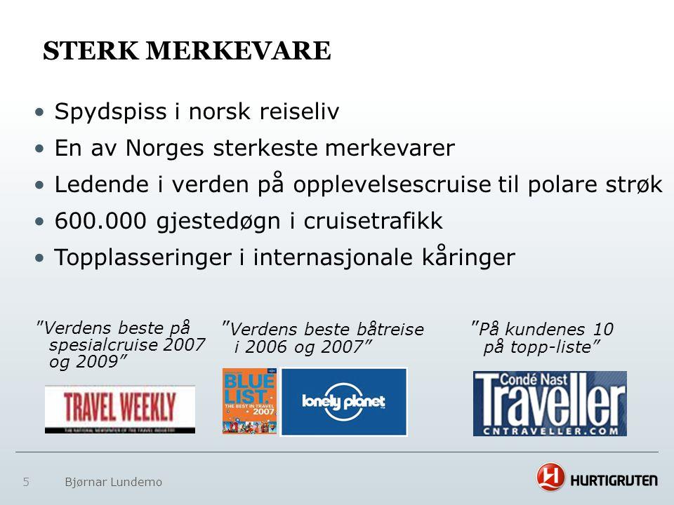 5 Bjørnar Lundemo STERK MERKEVARE • Spydspiss i norsk reiseliv • En av Norges sterkeste merkevarer • Ledende i verden på opplevelsescruise til polare