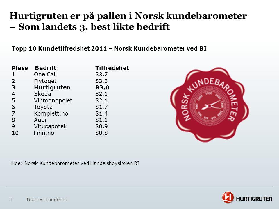 6 Bjørnar Lundemo Hurtigruten er på pallen i Norsk kundebarometer – Som landets 3. best likte bedrift Topp 10 Kundetilfredshet 2011 – Norsk Kundebarom