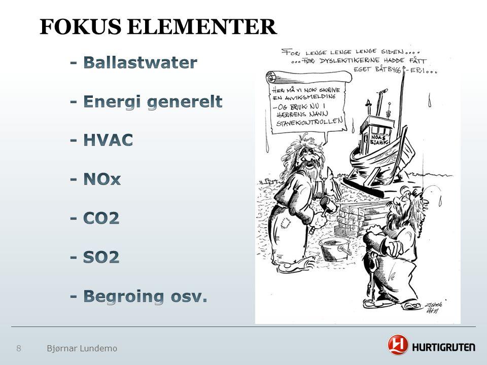 9 MILJØTILTAK OG NOx FONDET • Hurtigruten er medlem av NOx fondet • Redusere CO2- og Nox utslipp.