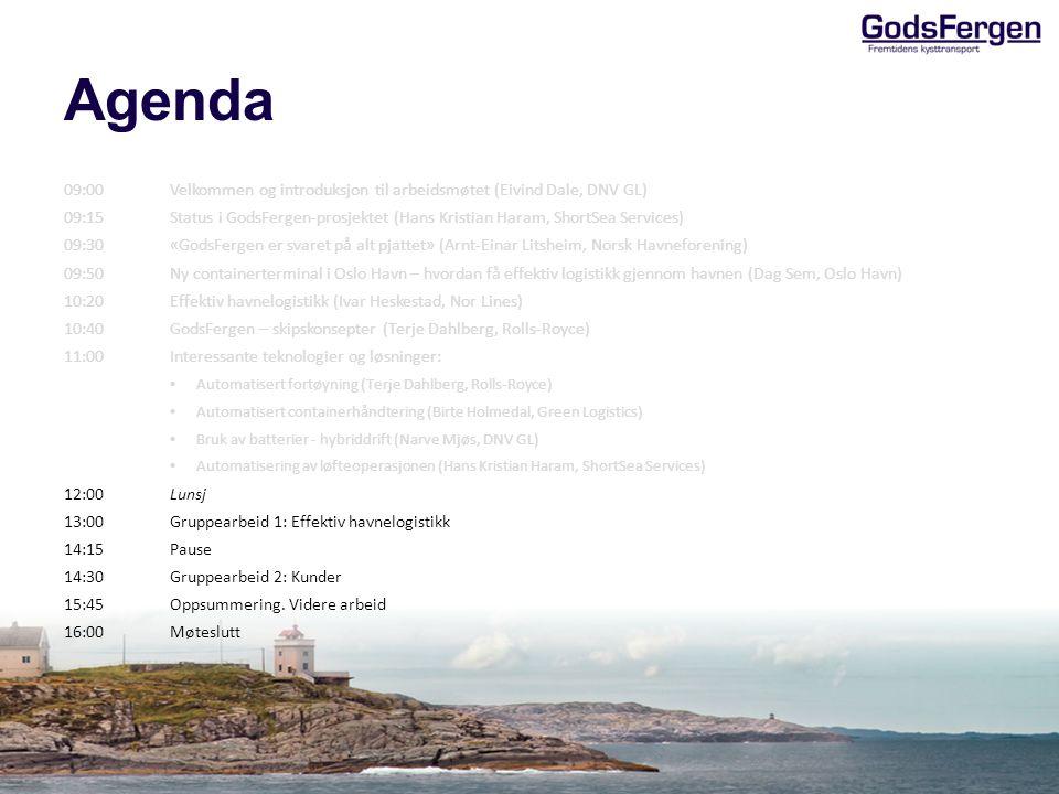 Agenda 09:00Velkommen og introduksjon til arbeidsmøtet (Eivind Dale, DNV GL) 09:15Status i GodsFergen-prosjektet (Hans Kristian Haram, ShortSea Servic