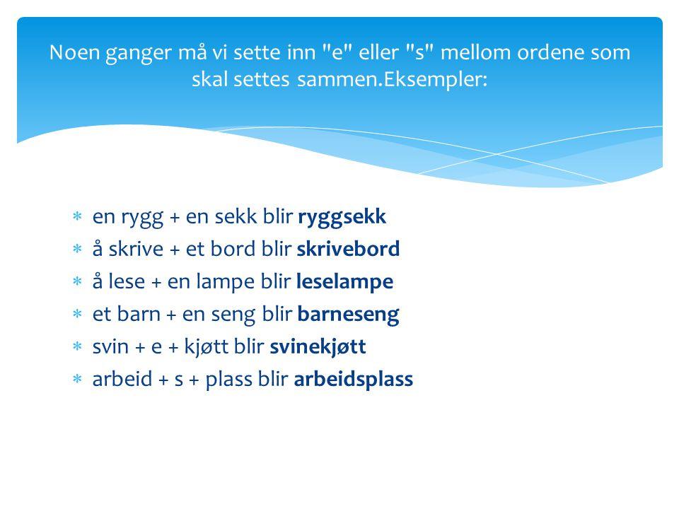  På norsk skrives sammensatte ord uten bindestrek. MERK!