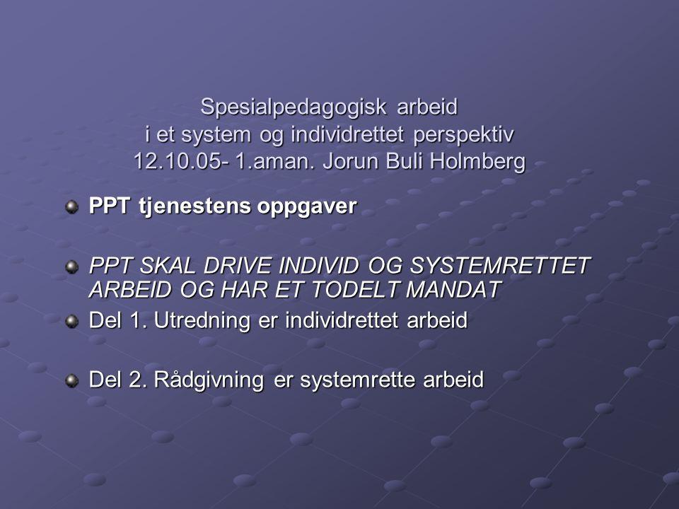 Spesialpedagogisk arbeid i et system og individrettet perspektiv 12.10.05- 1.aman. Jorun Buli Holmberg PPT tjenestens oppgaver PPT SKAL DRIVE INDIVID