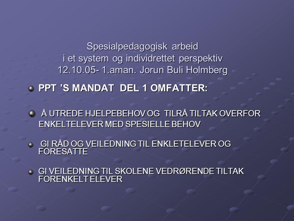 Spesialpedagogisk arbeid i et system og individrettet perspektiv 12.10.05- 1.aman. Jorun Buli Holmberg PPT 'S MANDAT DEL 1 OMFATTER: Å UTREDE HJELPEBE