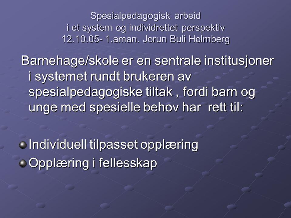 Spesialpedagogisk arbeid i et system og individrettet perspektiv 12.10.05- 1.aman. Jorun Buli Holmberg Barnehage/skole er en sentrale institusjoner i