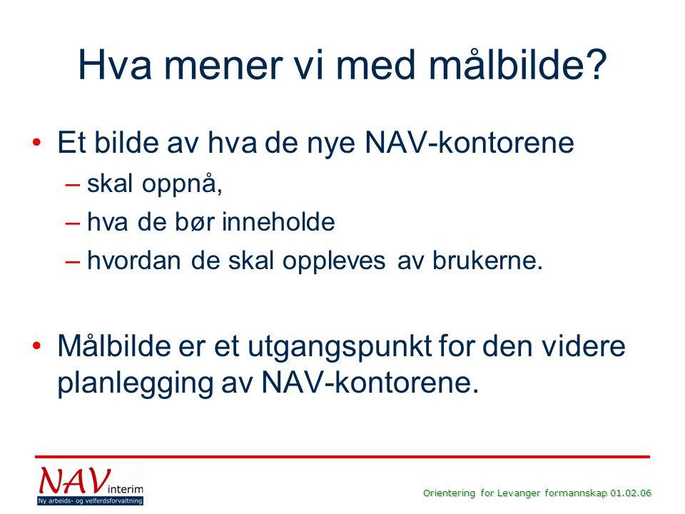 Orientering for Levanger formannskap 01.02.06 Hva mener vi med målbilde? •Et bilde av hva de nye NAV-kontorene –skal oppnå, –hva de bør inneholde –hvo