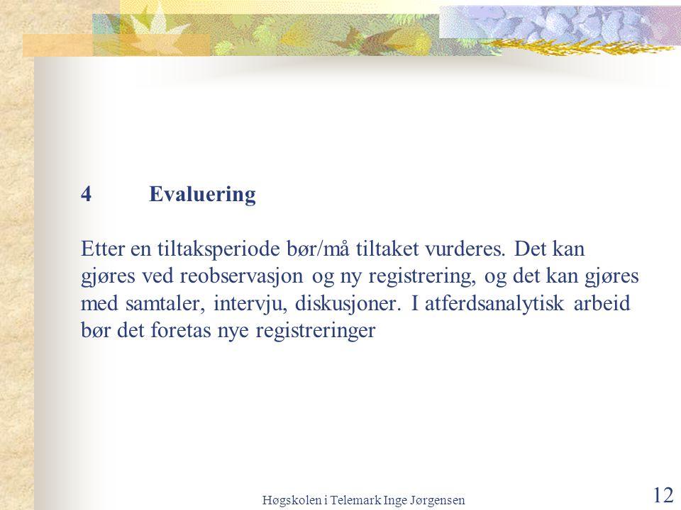 Høgskolen i Telemark Inge Jørgensen 12 4Evaluering Etter en tiltaksperiode bør/må tiltaket vurderes.