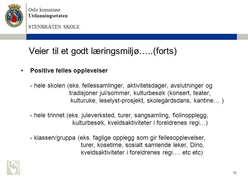 Oslo kommune Utdanningsetaten STENBRÅTEN SKOLE 10 Veier til et godt læringsmiljø…..(forts) •Positive felles opplevelser - hele skolen (eks. fellessaml