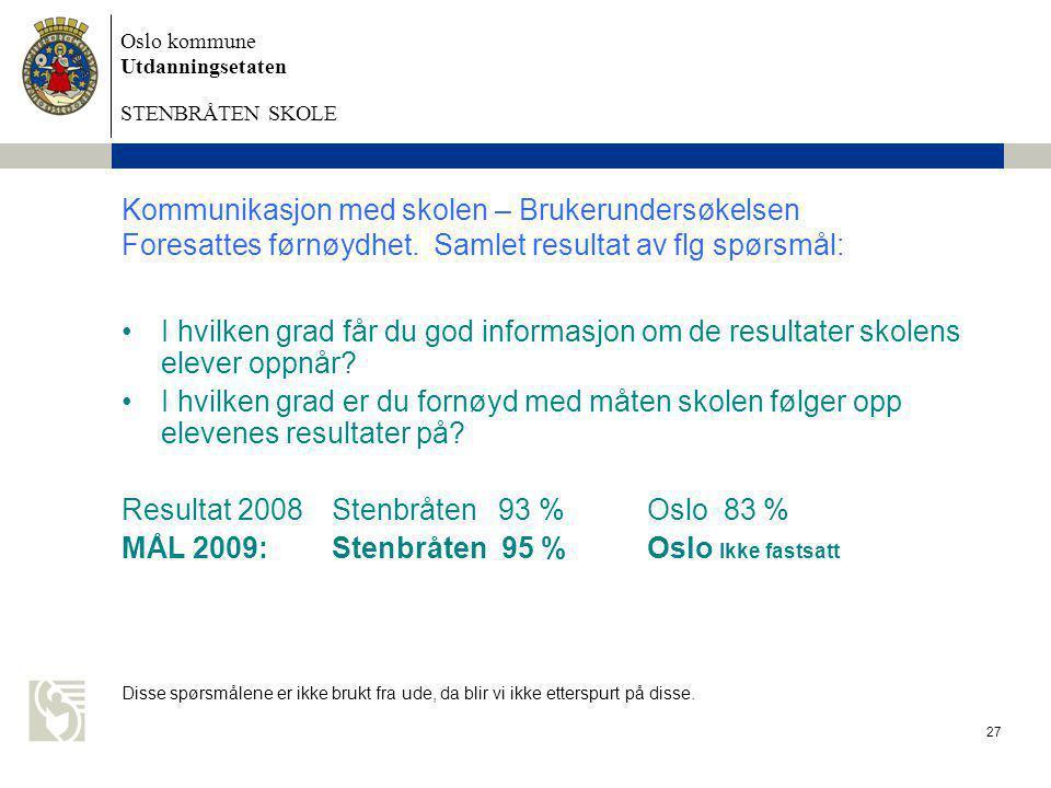 Oslo kommune Utdanningsetaten STENBRÅTEN SKOLE 27 Kommunikasjon med skolen – Brukerundersøkelsen Foresattes førnøydhet. Samlet resultat av flg spørsmå