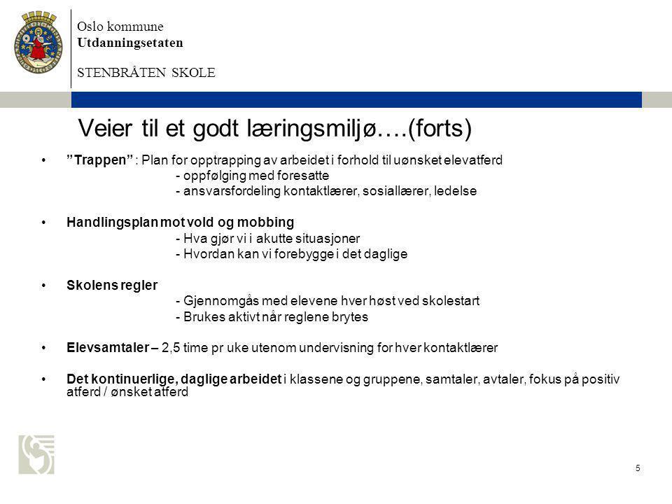 """Oslo kommune Utdanningsetaten STENBRÅTEN SKOLE 5 Veier til et godt læringsmiljø….(forts) •""""Trappen"""" : Plan for opptrapping av arbeidet i forhold til u"""