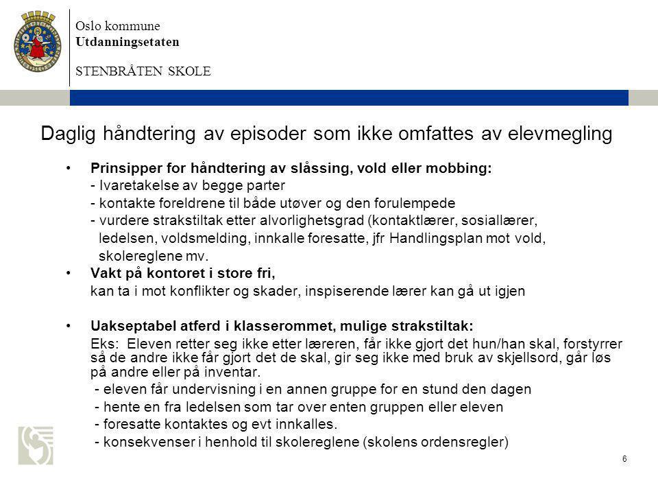 Oslo kommune Utdanningsetaten STENBRÅTEN SKOLE 6 Daglig håndtering av episoder som ikke omfattes av elevmegling •Prinsipper for håndtering av slåssing