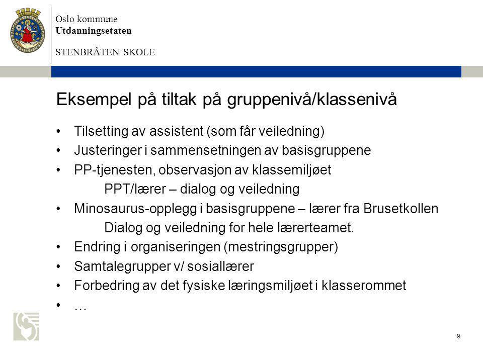 Oslo kommune Utdanningsetaten STENBRÅTEN SKOLE 9 Eksempel på tiltak på gruppenivå/klassenivå •Tilsetting av assistent (som får veiledning) •Justeringe