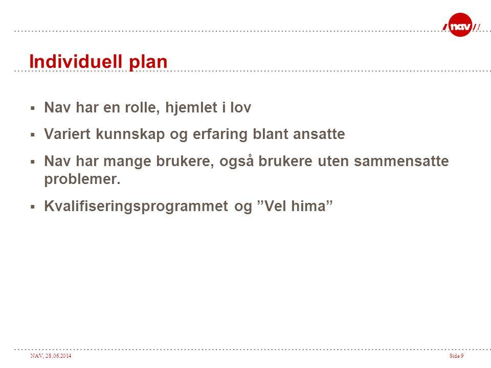 NAV, 28.06.2014Side 9 Individuell plan  Nav har en rolle, hjemlet i lov  Variert kunnskap og erfaring blant ansatte  Nav har mange brukere, også br