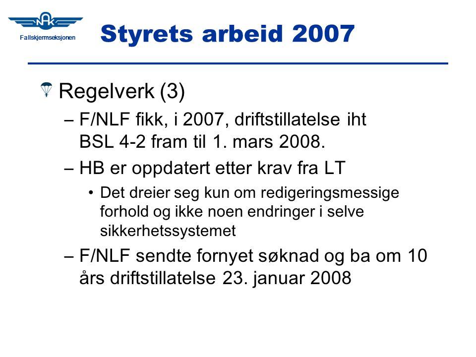 Fallskjermseksjonen Styrets arbeid 2007 Regelverk (3) –F/NLF fikk, i 2007, driftstillatelse iht BSL 4-2 fram til 1.