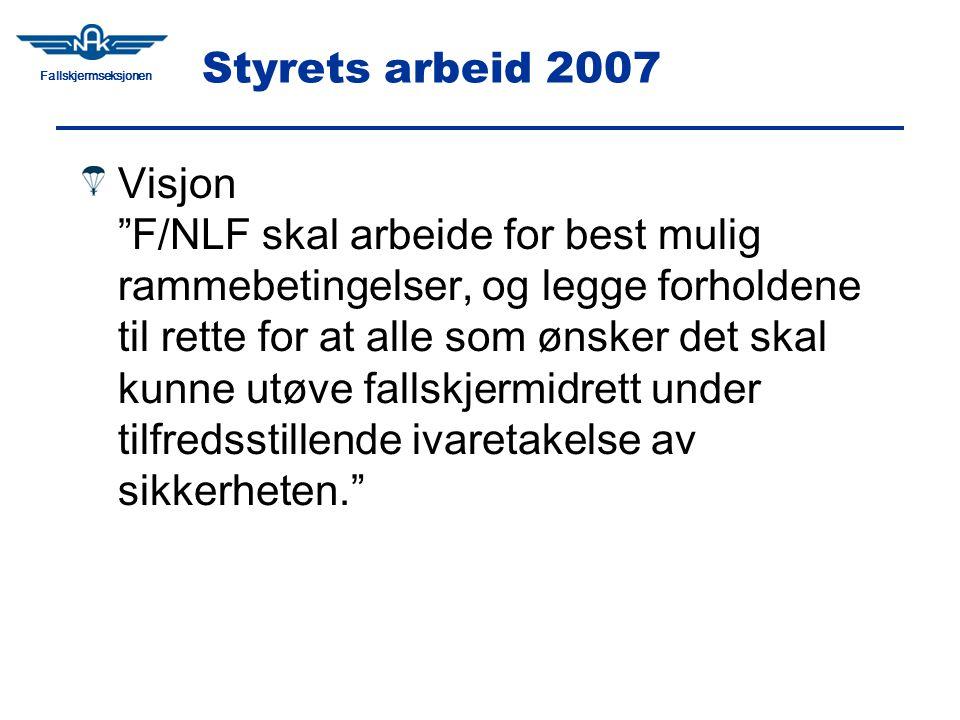 Fallskjermseksjonen Styrets arbeid 2007 Visjon F/NLF skal arbeide for best mulig rammebetingelser, og legge forholdene til rette for at alle som ønsker det skal kunne utøve fallskjermidrett under tilfredsstillende ivaretakelse av sikkerheten.
