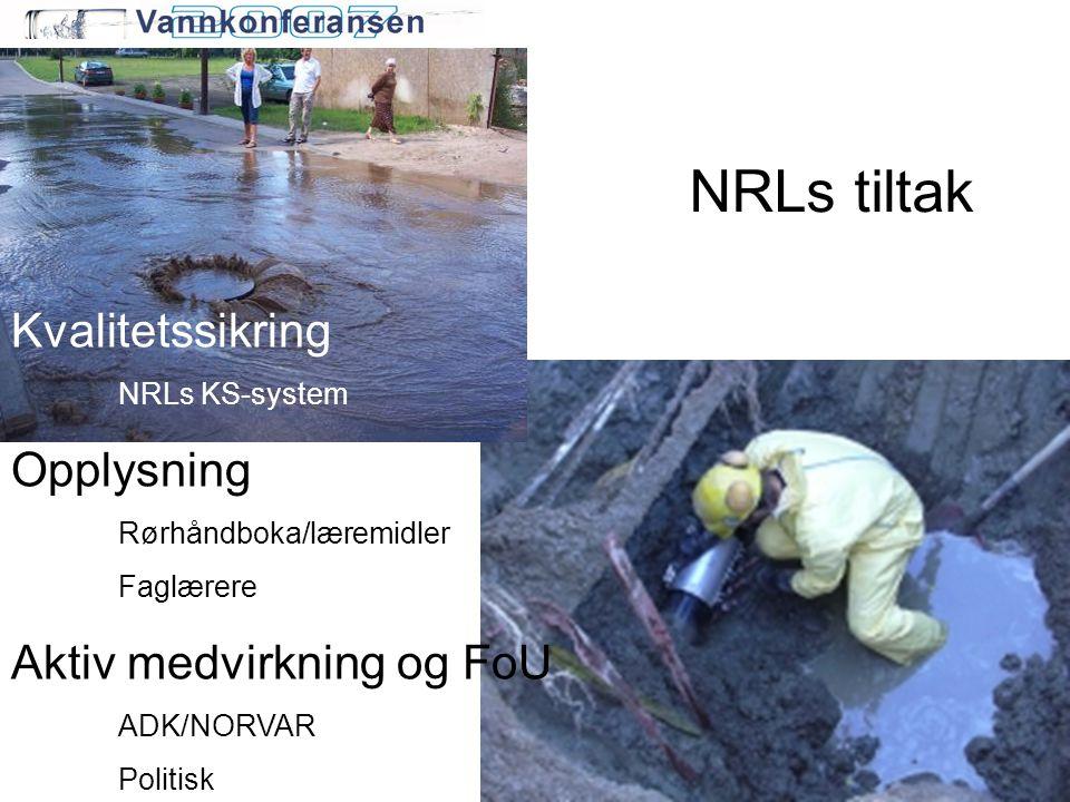 NRLs tiltak Kvalitetssikring NRLs KS-system Opplysning Rørhåndboka/læremidler Faglærere Aktiv medvirkning og FoU ADK/NORVAR Politisk