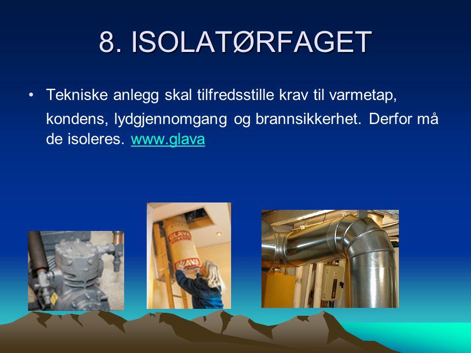 8. ISOLATØRFAGET •Tekniske anlegg skal tilfredsstille krav til varmetap, kondens, lydgjennomgang og brannsikkerhet. Derfor må de isoleres. www.glavaww