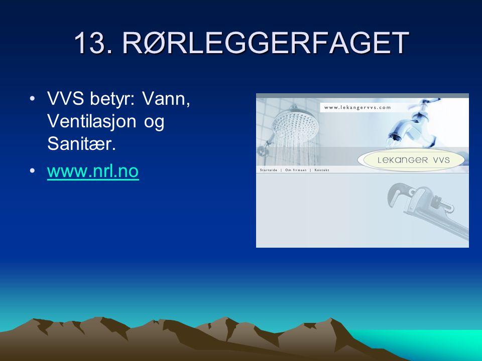 13. RØRLEGGERFAGET •VVS betyr: Vann, Ventilasjon og Sanitær. •www.nrl.nowww.nrl.no