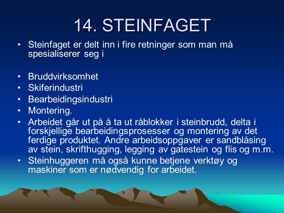 14. STEINFAGET •Steinfaget er delt inn i fire retninger som man må spesialiserer seg i •Bruddvirksomhet •Skiferindustri •Bearbeidingsindustri •Monteri