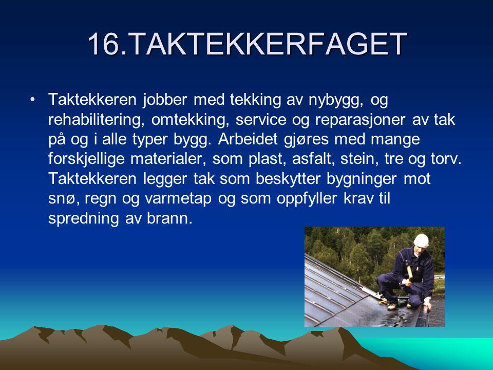 16.TAKTEKKERFAGET •Taktekkeren jobber med tekking av nybygg, og rehabilitering, omtekking, service og reparasjoner av tak på og i alle typer bygg.