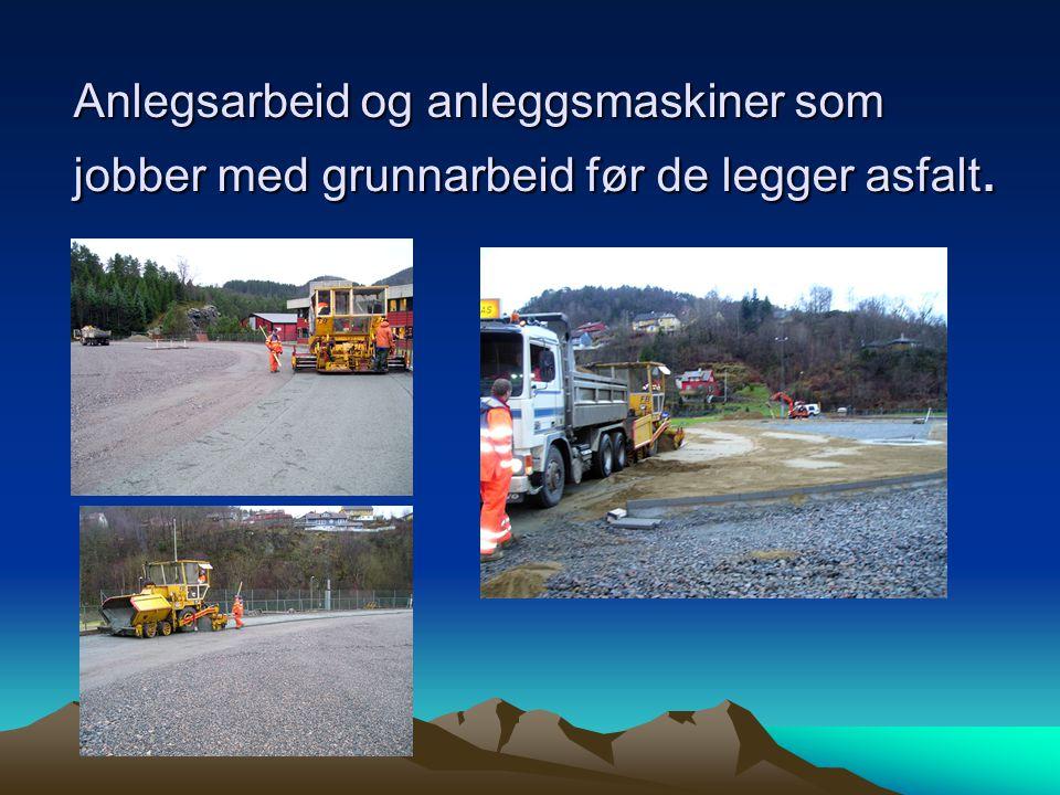 Anlegsarbeid og anleggsmaskiner som jobber med grunnarbeid før de legger asfalt.