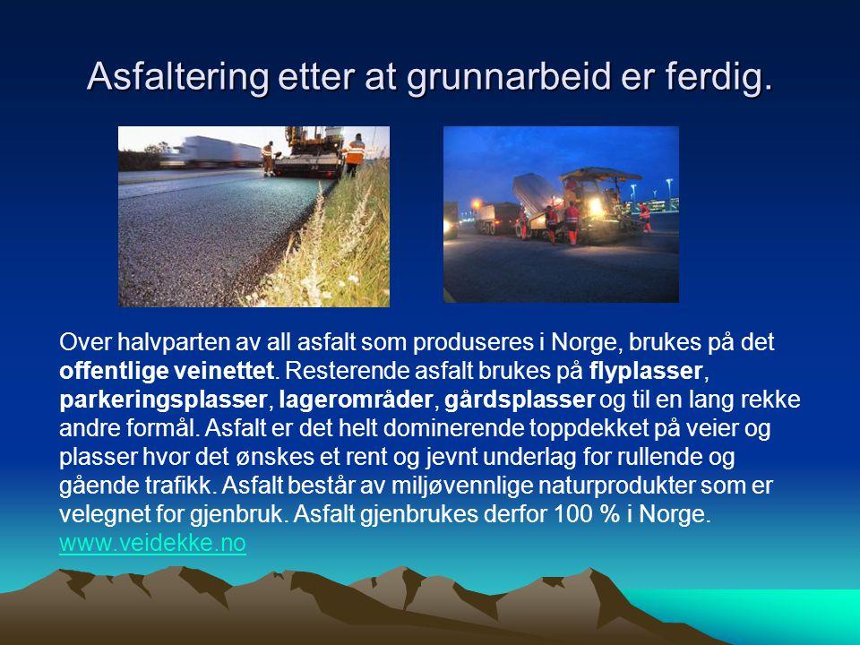 Asfaltering etter at grunnarbeid er ferdig. Over halvparten av all asfalt som produseres i Norge, brukes på det offentlige veinettet. Resterende asfal