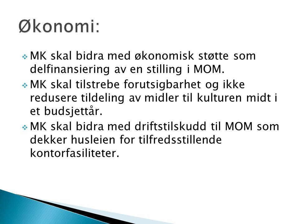 MK skal bidra med økonomisk støtte som delfinansiering av en stilling i MOM.