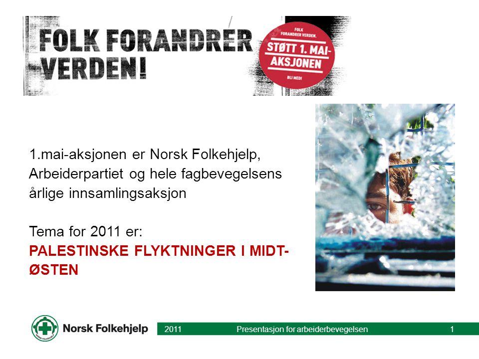 1.mai-aksjonen er Norsk Folkehjelp, Arbeiderpartiet og hele fagbevegelsens årlige innsamlingsaksjon Tema for 2011 er: PALESTINSKE FLYKTNINGER I MIDT- ØSTEN 2011 Presentasjon for arbeiderbevegelsen1