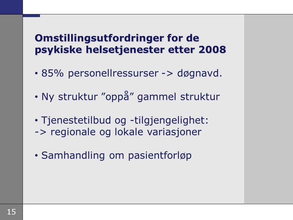 """15 Omstillingsutfordringer for de psykiske helsetjenester etter 2008 • 85% personellressurser -> døgnavd. • Ny struktur """"oppå"""" gammel struktur • Tjene"""
