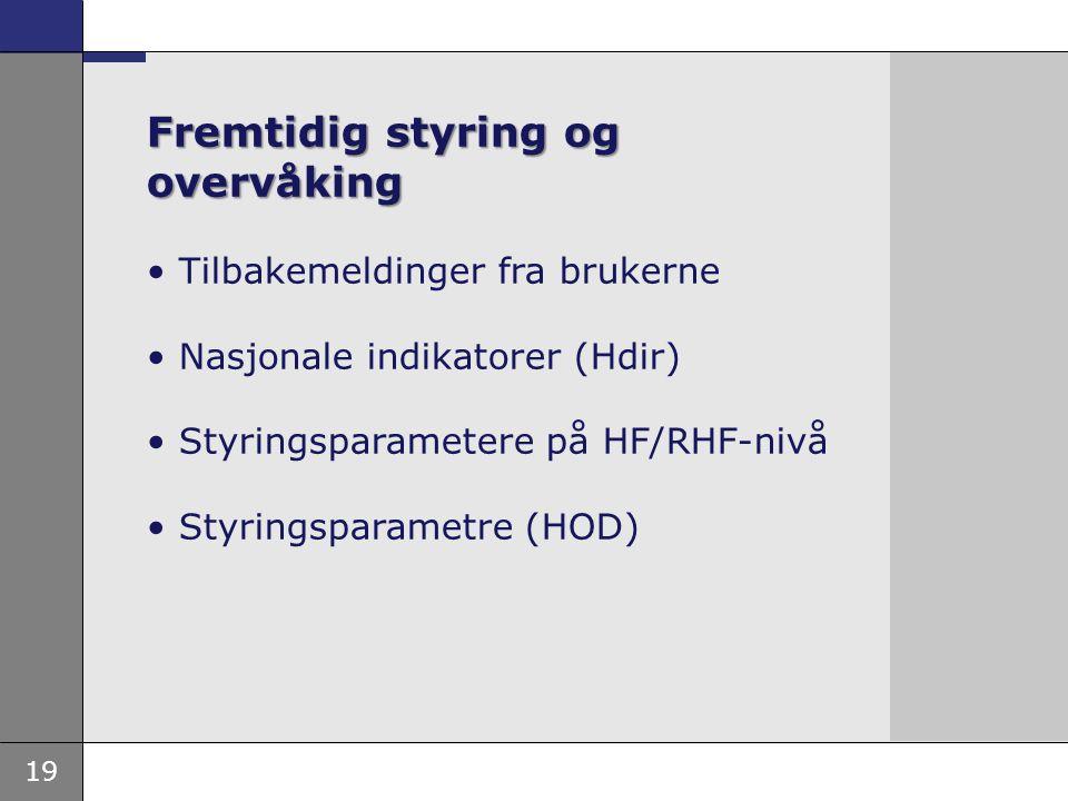 19 Fremtidig styring og overvåking • Tilbakemeldinger fra brukerne • Nasjonale indikatorer (Hdir) • Styringsparametere på HF/RHF-nivå • Styringsparame