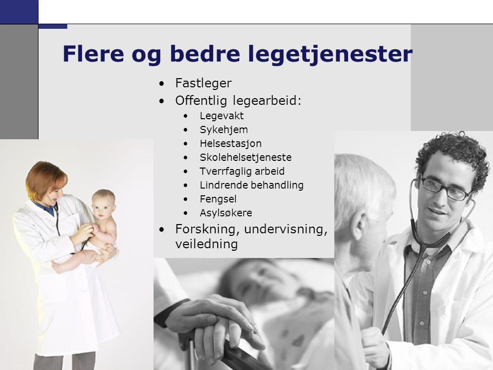 5 •Fastleger •Offentlig legearbeid: •Legevakt •Sykehjem •Helsestasjon •Skolehelsetjeneste •Tverrfaglig arbeid •Lindrende behandling •Fengsel •Asylsøke