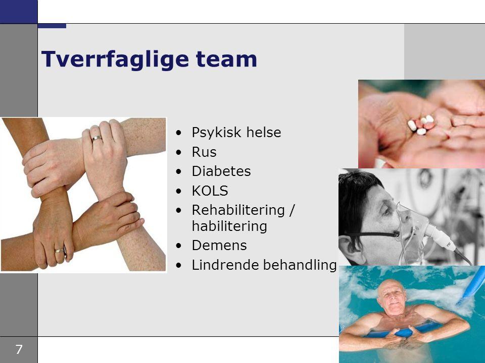 7 Tverrfaglige team •Psykisk helse •Rus •Diabetes •KOLS •Rehabilitering / habilitering •Demens •Lindrende behandling