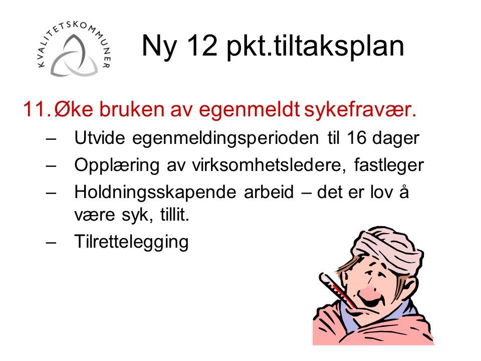 Ny 12 pkt.tiltaksplan 11.Øke bruken av egenmeldt sykefravær. –Utvide egenmeldingsperioden til 16 dager –Opplæring av virksomhetsledere, fastleger –Hol