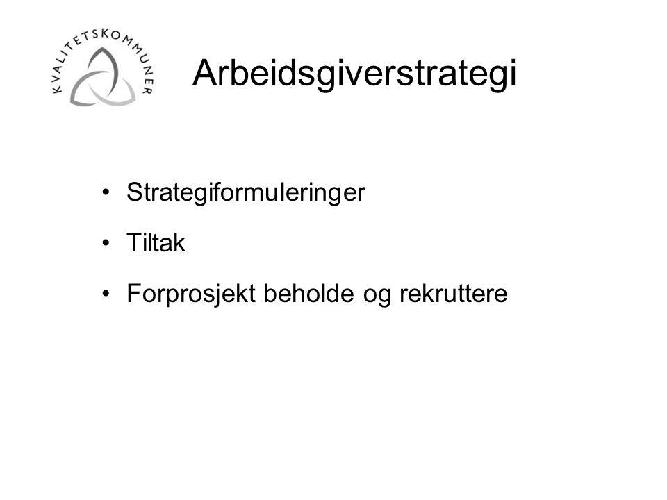 Arbeidsgiverstrategi •Strategiformuleringer •Tiltak •Forprosjekt beholde og rekruttere