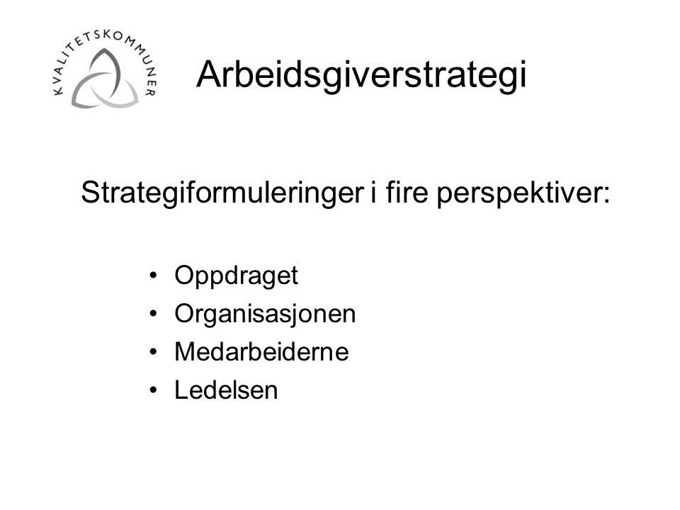 Arbeidsgiverstrategi •Oppdraget •Organisasjonen •Medarbeiderne •Ledelsen Strategiformuleringer i fire perspektiver: