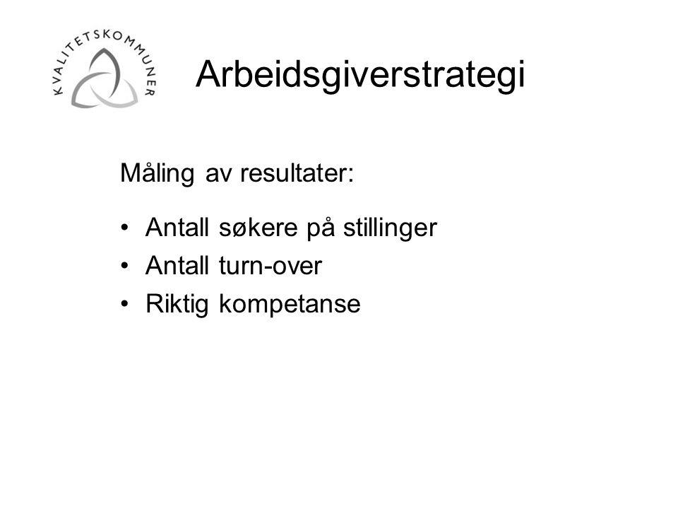 Arbeidsgiverstrategi Måling av resultater: •Antall søkere på stillinger •Antall turn-over •Riktig kompetanse