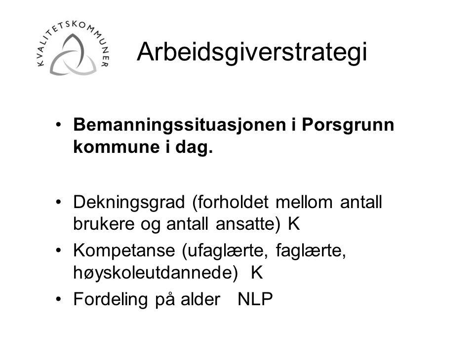 •Bemanningssituasjonen i Porsgrunn kommune i dag. •Dekningsgrad (forholdet mellom antall brukere og antall ansatte) K •Kompetanse (ufaglærte, faglærte