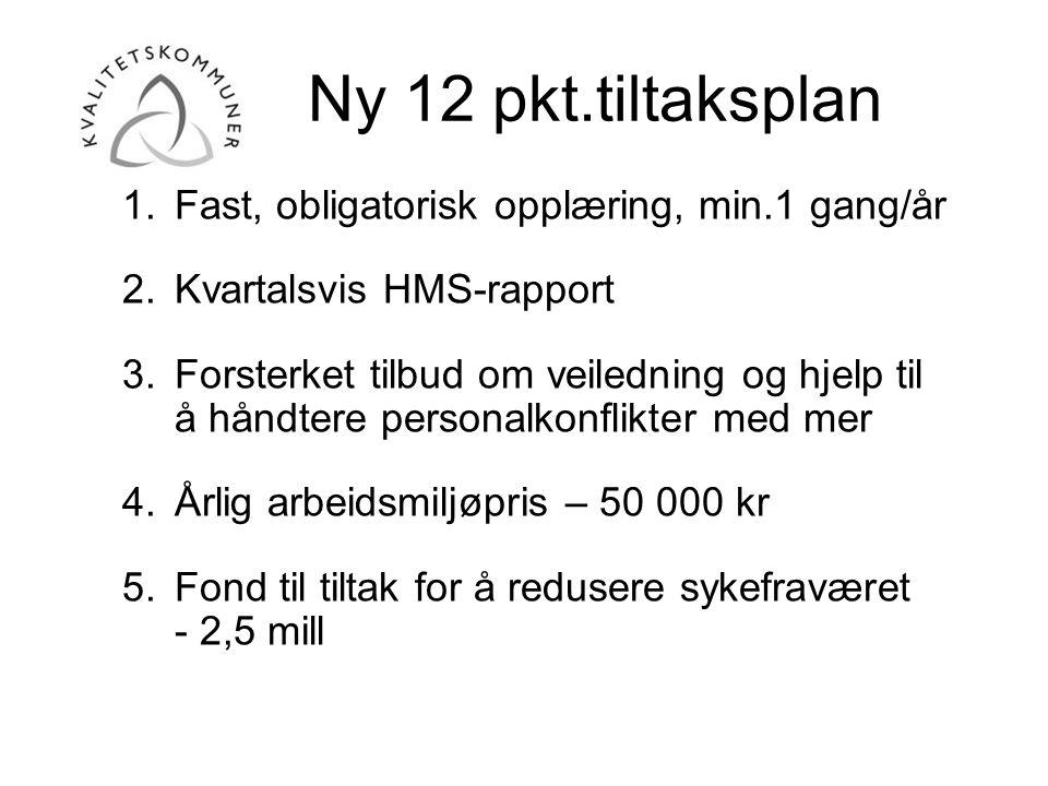 Ny 12 pkt.tiltaksplan 1.Fast, obligatorisk opplæring, min.1 gang/år 2.Kvartalsvis HMS-rapport 3.Forsterket tilbud om veiledning og hjelp til å håndter