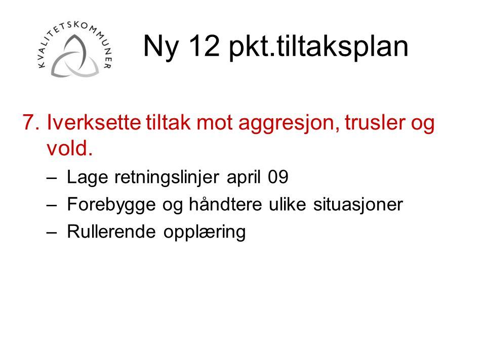 Ny 12 pkt.tiltaksplan 7.Iverksette tiltak mot aggresjon, trusler og vold. –Lage retningslinjer april 09 –Forebygge og håndtere ulike situasjoner –Rull