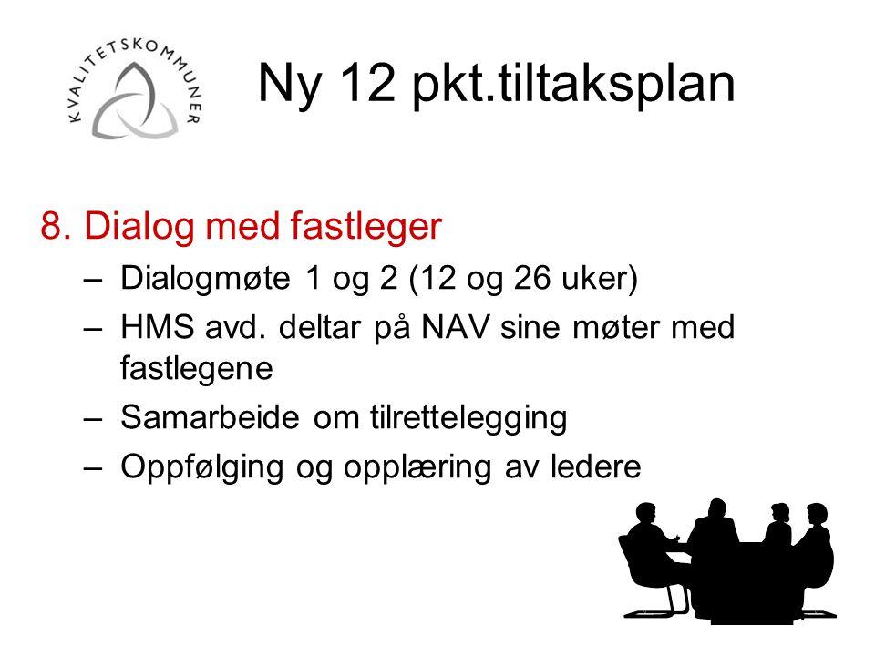 Ny 12 pkt.tiltaksplan 8.Dialog med fastleger –Dialogmøte 1 og 2 (12 og 26 uker) –HMS avd. deltar på NAV sine møter med fastlegene –Samarbeide om tilre