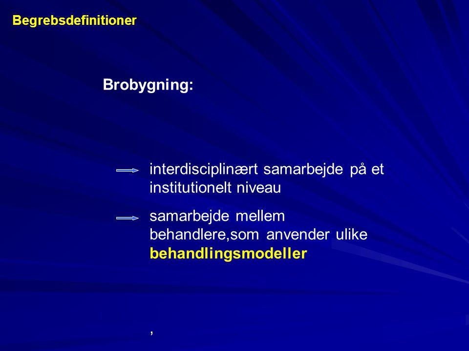 Brobygning: interdisciplinært samarbejde på et institutionelt niveau samarbejde mellem behandlere,som anvender ulike behandlingsmodeller, Begrebsdefin