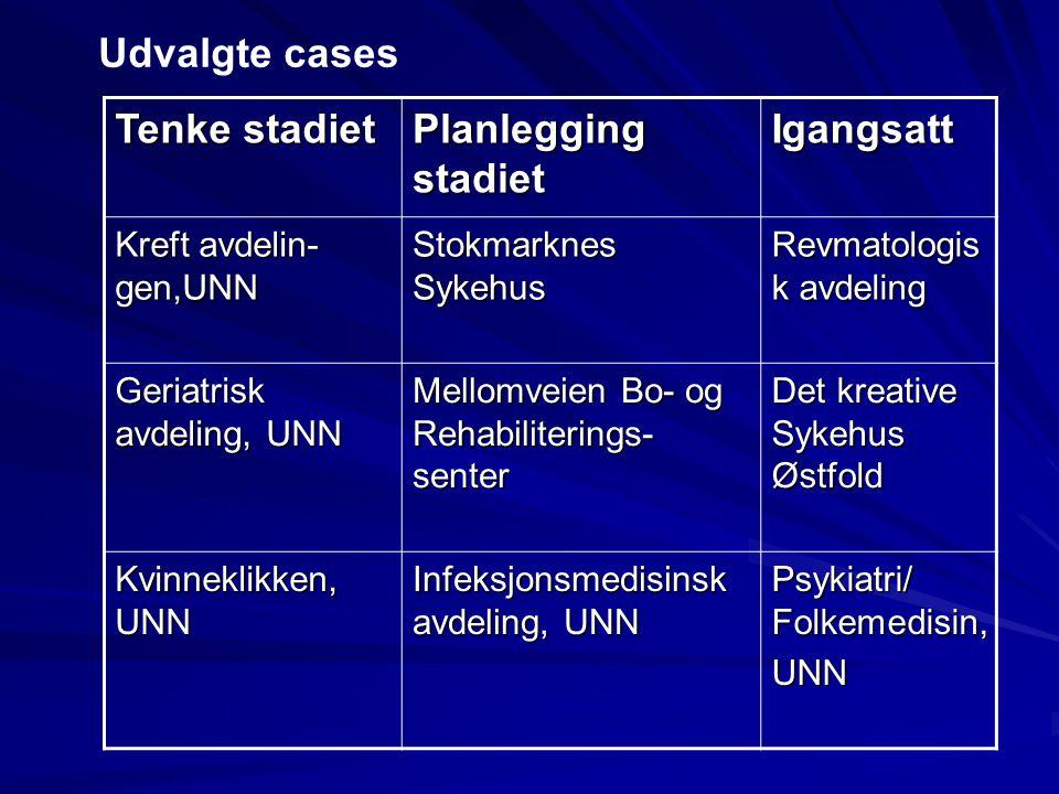 Tenke stadiet Planlegging stadiet Igangsatt Kreft avdelin- gen,UNN Stokmarknes Sykehus Revmatologis k avdeling Geriatrisk avdeling, UNN Mellomveien Bo