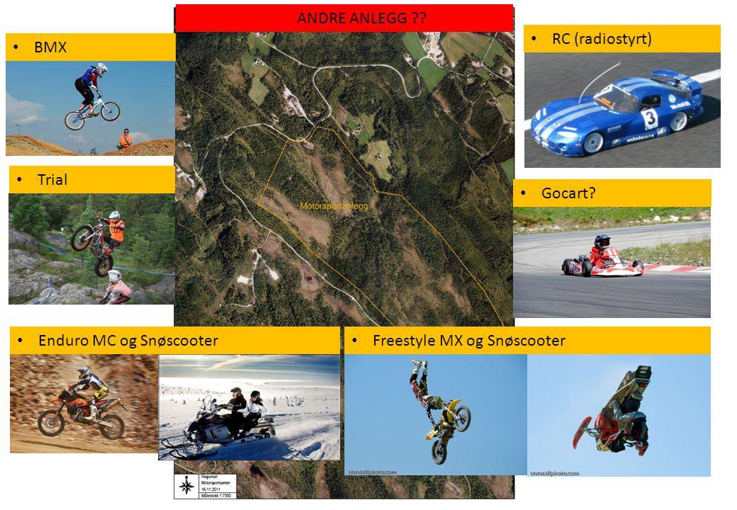 • RC (radiostyrt) • Gocart? • Trial • Enduro MC og Snøscooter ANDRE ANLEGG ?? • Freestyle MX og Snøscooter • BMX