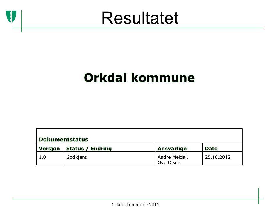 Resultatet Orkdal kommune 2012