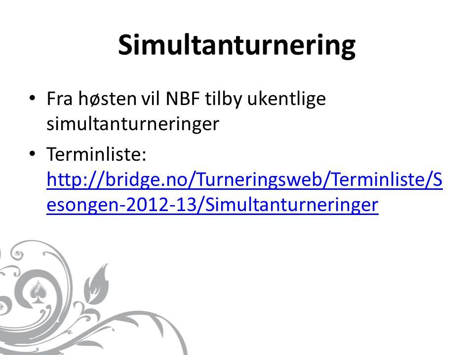 Simultanturnering • Fra høsten vil NBF tilby ukentlige simultanturneringer • Terminliste: http://bridge.no/Turneringsweb/Terminliste/S esongen-2012-13