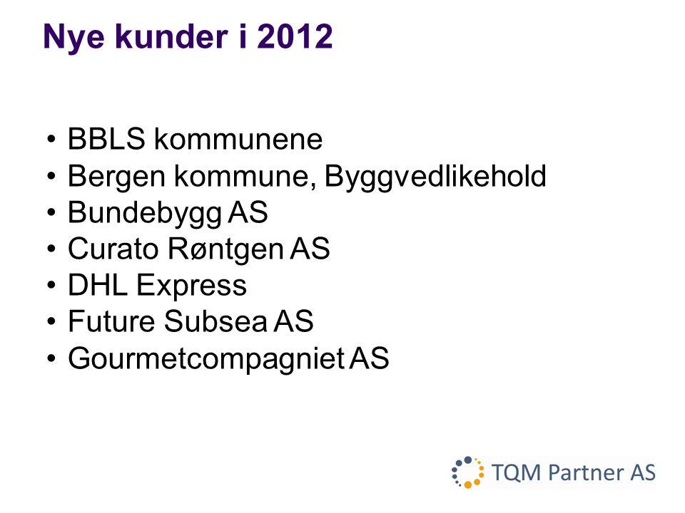 •BBLS kommunene •Bergen kommune, Byggvedlikehold •Bundebygg AS •Curato Røntgen AS •DHL Express •Future Subsea AS •Gourmetcompagniet AS Nye kunder i 20