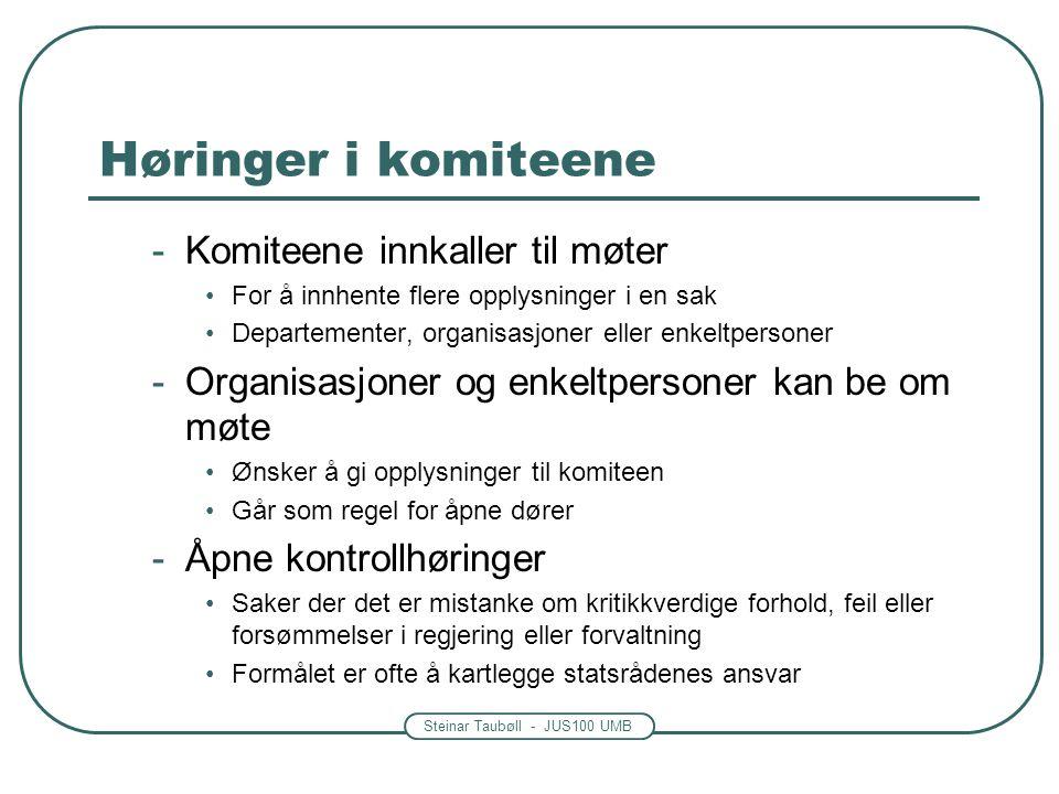 Steinar Taubøll - JUS100 UMB Høringer i komiteene -Komiteene innkaller til møter •For å innhente flere opplysninger i en sak •Departementer, organisas
