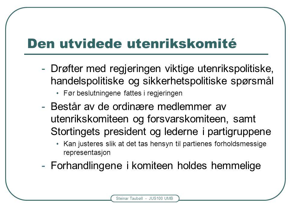 Steinar Taubøll - JUS100 UMB Den utvidede utenrikskomité -Drøfter med regjeringen viktige utenrikspolitiske, handelspolitiske og sikkerhetspolitiske s