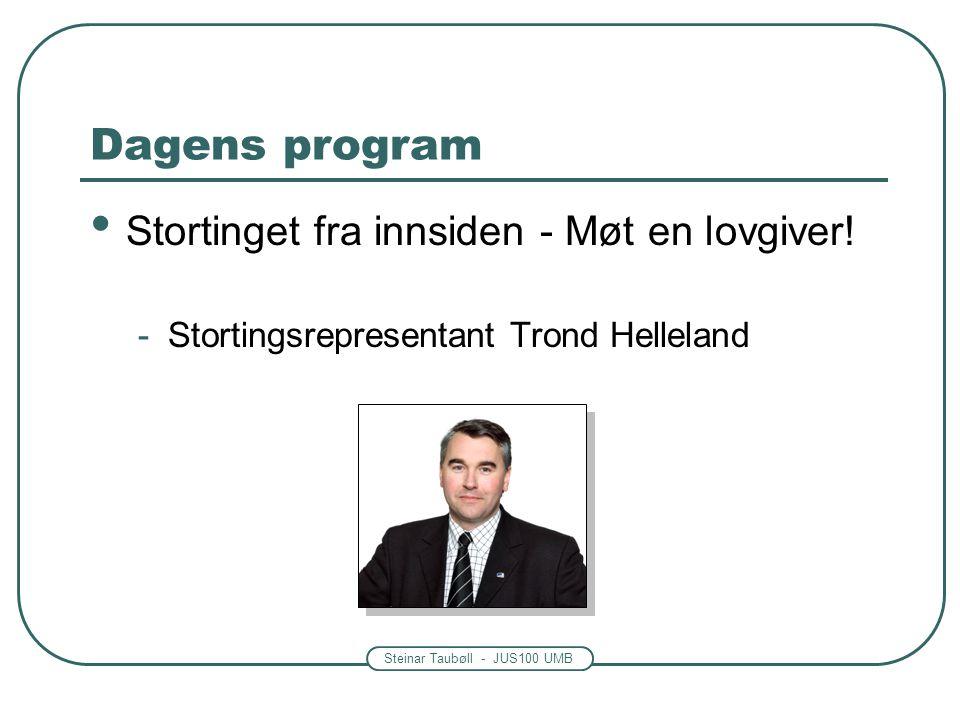 Steinar Taubøll - JUS100 UMB Dagens program • Stortinget fra innsiden - Møt en lovgiver! -Stortingsrepresentant Trond Helleland